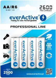 Akumulatorki everActive R6/AA Ni-MH 2600 mAh ready to use x4